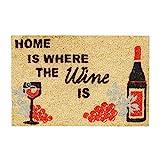 Relaxdays–Felpudo Coco Alemán Home is Where The Wine Is Coco Felpudo 40x 60, con Base Antideslizante de PVC–Felpudo (Fibra de Coco Alfombra de Entrada y Puerta Alfombrilla, Natural
