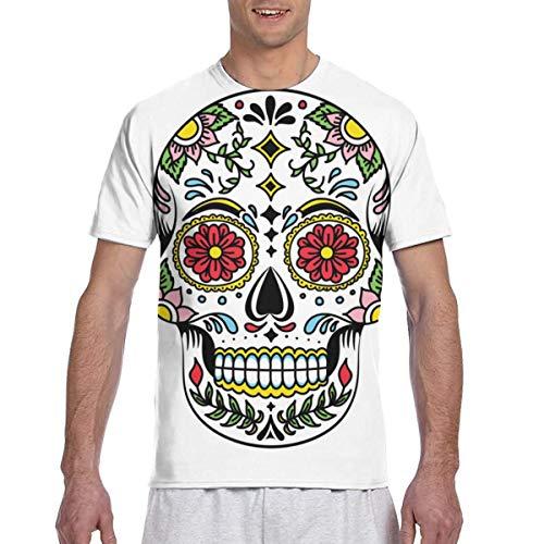 Camisetas de Hombre Camisa de Manga Corta Deportiva de Vector de Calavera de azúcar Floral Mexicana Colorida