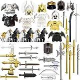 HYZM Armas Militares Juguete, 49 Piezas Griego Antiguo Romano Militares Set de Armas y Casco para Minifiguras Soldados SWAT, Compatible con Figuras de Lego
