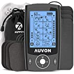 "AUVON Dual Channel TENS Unit Muscle Stimulator Machine with 20 Modes, 2"" and 2""x4"" TENS Unit Electrode Pads (Black)"