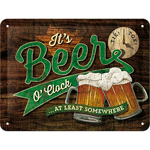 Nostalgic-Art Open Bar – Beer O' Clock Glasses – Geschenk-Idee für Bier-Fans Retro Blechschild, aus Metall, Vintage-Design zur Dekoration, 15 x 20 cm