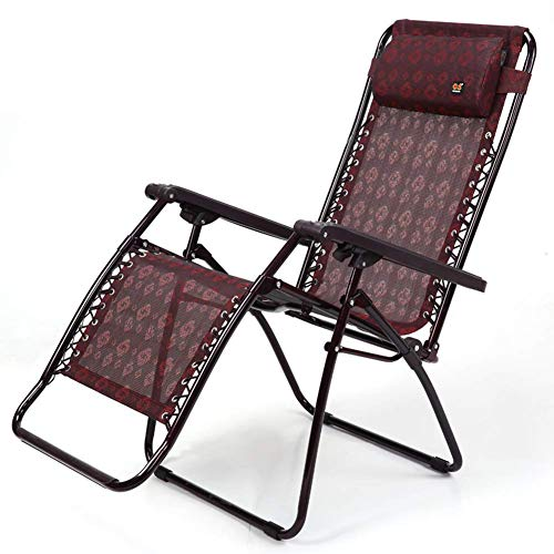 WGFGXQ Red Outdoor Lounge Chairs Folding Zero Gravity Chair Garden Patio Lounge Chair Camping Reclining Breathable Comfort ,Bearing Strong