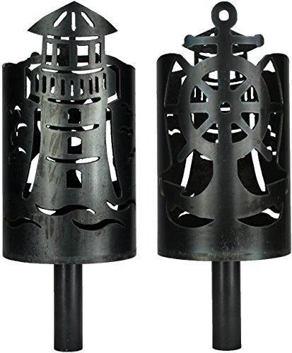 Leuchtturm Fackel mit Anker/Schiffsruder - Set mit Stiel und Brennmitteln