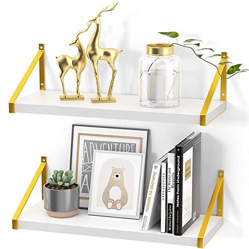 STOREMIC Estantes flotantes, moderno estante blanco con soportes de metal dorado, 40 x 14 cm, resistente estantes de pared juego de 2 para dormitorio, sala de estar, baño, oficina, etc