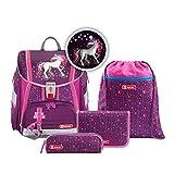 """Step by Step Ranzen-Set Touch 2 Flash """"Dreamy Unicorn"""" 4-teilig, lila-pink, Einhorn-Design, ergonomischer Tornister mit Reflektoren, höhenverstellbar für Mädchen 1. Klasse, 21L"""