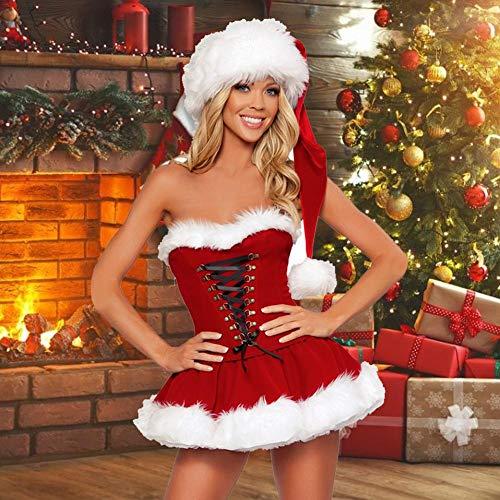 funnyfeng Disfraz de Navidad para mujer, sexy, con cordón, disfraz de Papá Noel, con sombrero, para cosplay, vestido de corte bajo y hombros descubiertos