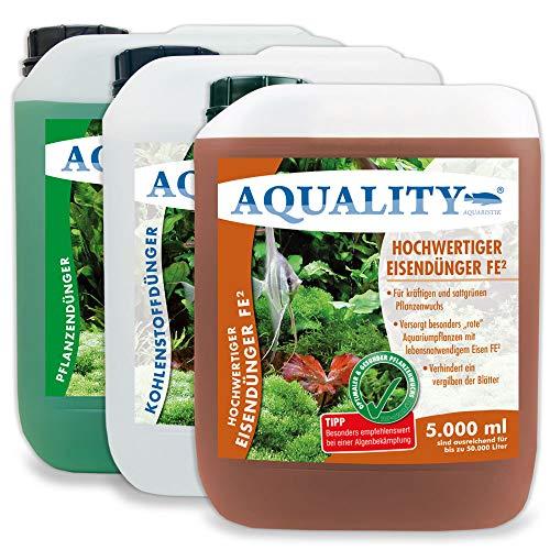 AQUALITY Aquarium 3er Pflanzenpflege Sparset (Dünger - 1. Pflanzendünger - 2. Eisendünger - 3. CO2 Kohlenstoffdünger für einen perfekten Pflanzenwuchs), Set-Größe:Set 5000