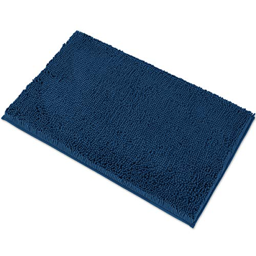 MAYSHINE Chenille Bath Mat for Bathroom Rugs 32' x20', Extra Soft and Absorbent Microfiber Shag Rug, Machine Wash Dry- Perfect Plush Carpet Mats for Tub, Shower, and Room- Dark Blue