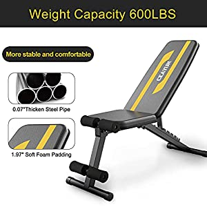 CEAYUN Adjustable Weight Bench Press, Foldable Workout Bench for Full Body, Incline Decline Utility Exercise Bench, Strength Training Benches for Home Gym