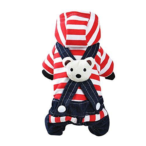 Wodery Pet Puppy V¨ºtements robe manteau Cute Bear ray¨¦ chandail hiver chaud Dog Jacket V¨ºtements V¨ºtements