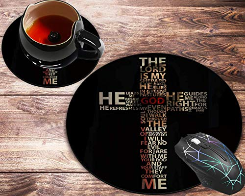 Round Mouse Pad and Coaster Set, Beautiful Design God Jesus Christian Cross Mousepad, Non-Slip Rubber Base Gaming Mouse Pads for Working Or Game