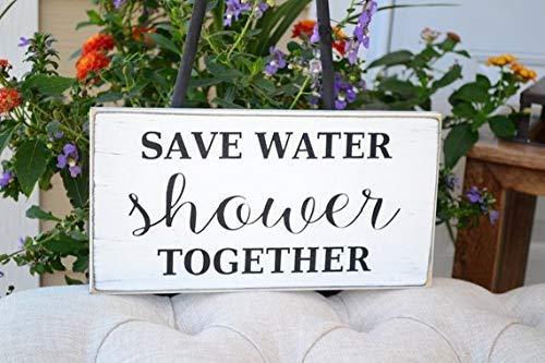 qidushop Save Water Shower Together Plaque en Bois pour décoration Murale
