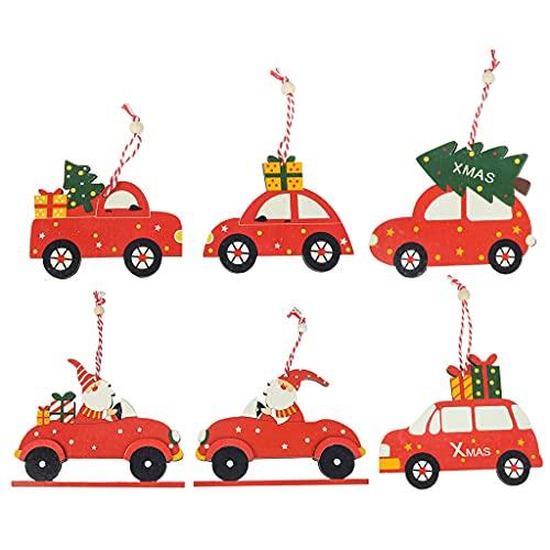 Lobounny - Set di 6 ciondoli in legno per auto, motivo a forma di gnomo per Natale, Babbo Natale, artigianato e festa