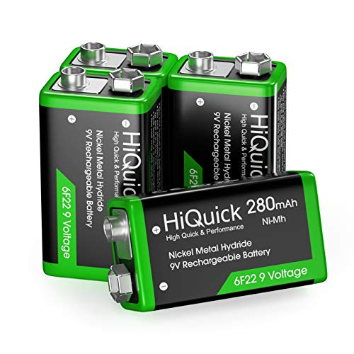 HiQuick 9V Akku, 9V Block Batterien, 280mAh NI-MH Wiederaufladbare Batterie, 1200 Ladezyklen, 4 Stück, für Rauchmelder Multimeter Alarmsystem Walkie Talkie