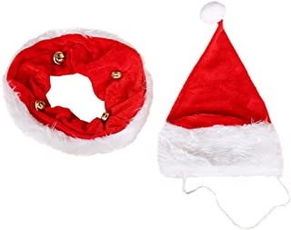 BESTOYARD 2 Pcs Pet Dog Santa Hat Collar New Christmas Puppy Costume Dogs Hat Scarf with Bell Christmas Xmas Pets Cap and ...
