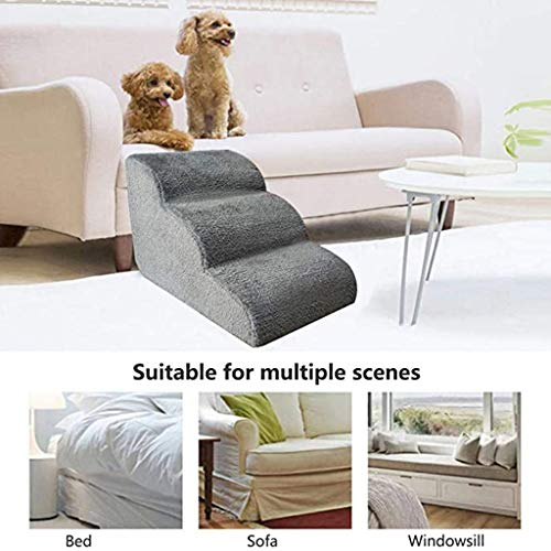 LKLK Pet Stairs Step Sofa Bed Ladder, Dog Stairs Ladder 3 Steps, Pet Climbing Stair, Portable Ladder for Dogs Cats Car Ramp Bed Boat