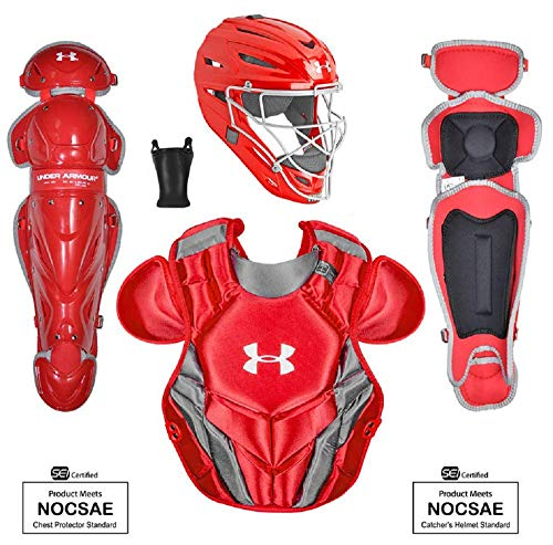 Under Armour Victory Series 4 Adult Baseball Catchers Set with Helmet, Leg Guard and Chest Protector, Red