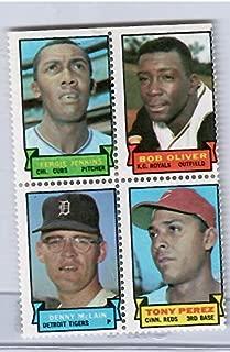 1969 Topps Baseball Stamps Fergie Jenkins-Bob Oliver-Denny McLain-Tony Perez 4 Stamp Panel