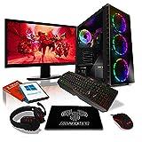 AWD-IT Ensemble PC de Bureau de Jeu - APU AMD Ryzen 3 3200G 4,0 GHz/Radeon Vega 8 • Écran LED 24' • Clavier et Souris Gamer • 16 Go • 1 to • Étui à Raider RGB • Windows 10