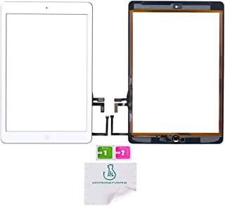 OmniRepairs Glass Touch Screen Digitizer Assembly Replacement with Home Button, Rubber Gasket and Camera Bracket Compatible for iPad Air 1st Generation with Pre-installed Adhesive Tape (White)