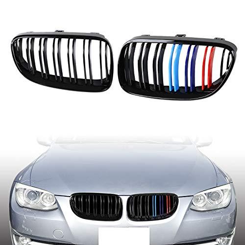 AUFER M Color Rejilla de riñón frontal de doble línea Parrilla de capó frontal Compatible para 3 Series E92 E93 325i 328i 335i 2 puertas LCI 2010-2014