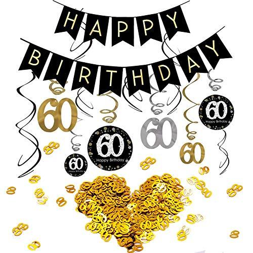 INTVN 60.Geburtstag Dekoration Set, Alles Gute zum Geburtstag Banner Konsait Gold Schwarz Silber Deko 60. Geburtstag Swirl Spiralen Girlanden zum Aufhängen Zahl