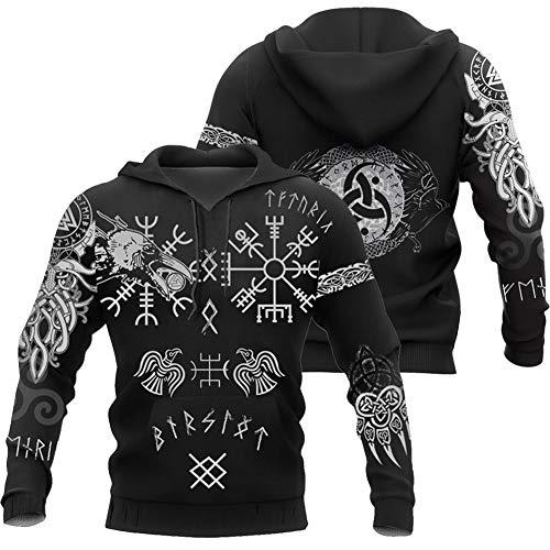 Viking Norse Mythology Rune Sweatshirt, 3D Digital Printing Odin Thor's Hammer Tattoo Snake Totem, Unisex Handmade Autumn Winter Fashion Casual Hooded Sweater,Black,M