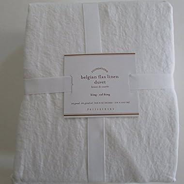 Pottery Barn BELGIAN LINEN FLAX Duvet Cover King/California King ~*White*~