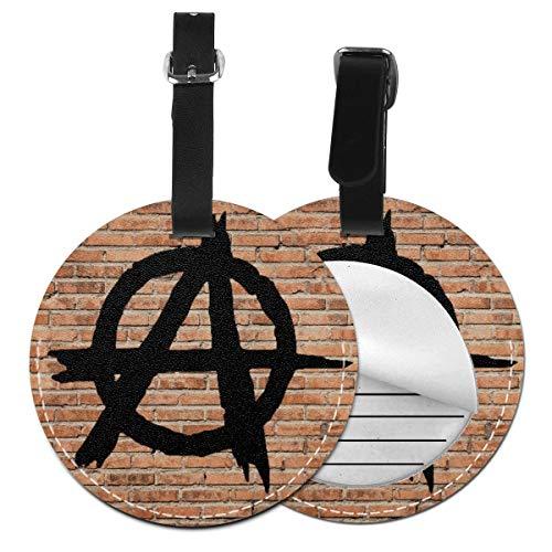 Kofferanhänger Inklusive Adressfeld, PU Leder Kofferschild, Gepäckschild für Koffer Tasche Rucksack Anarchie Kreis Symbol Graffiti politisch