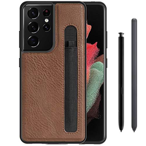 Gogobuy - Custodia protettiva per Samsung Galaxy S21 Ultra S, sottile e sottile, in pelle PU, antiurto, per Samsung Galaxy S21 Ultra 5G da 6,8', colore: Marrone