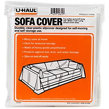 """U-Haul Moving & Storage Sofa Cover (Fits Sofas up to 8' Long) - Water Resistant Plastic Sheet Couch Protection - 134"""" x 42"""""""