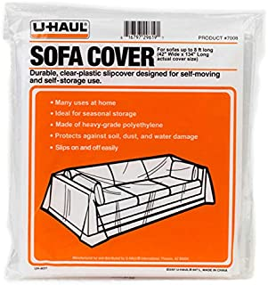 U-Haul Moving & Storage Sofa Cover (Fits Sofas up to 8' Long) - Water Resistant Plastic Sheet Couch Protection - 134 x 42