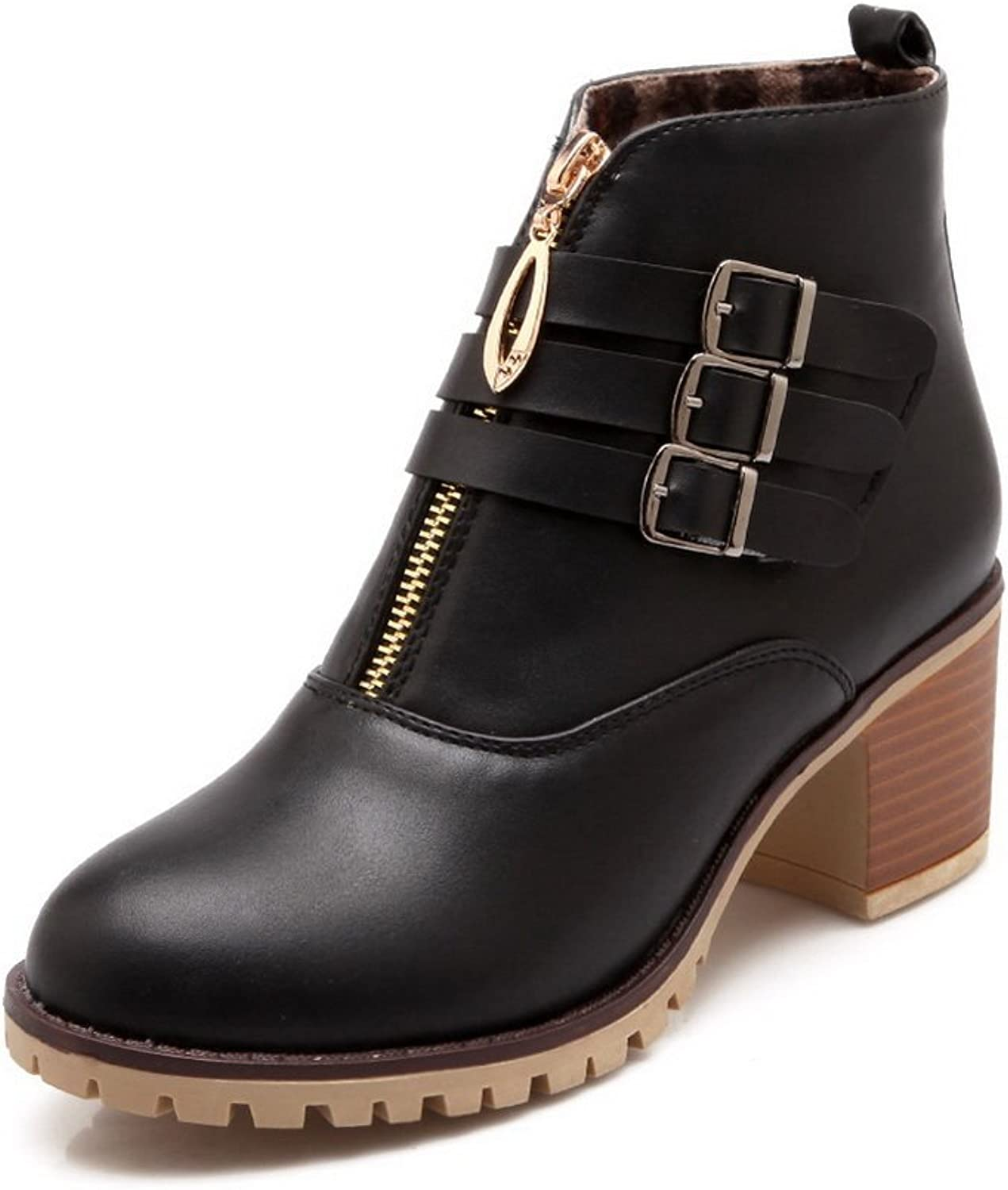 BalaMasa Womens Ring Velcro Multilayer Metal Strap Zipper Imitated Leather Boots