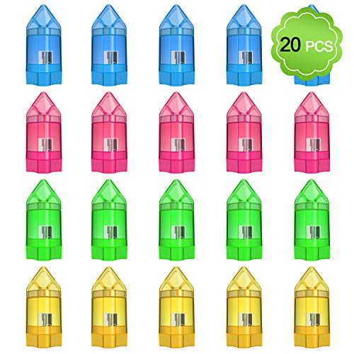 Pencil Sharpener, MENOLY 20 Pack Pencil Sharpener Manual Hand Pencil Sharpeners Small Pencil Sharpener Single Hole Pencil Sharpener with Eraser and Cover for School Office Home, 4 Color