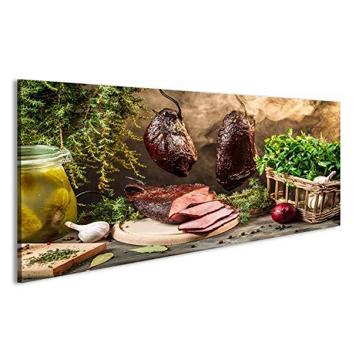 bilderfelix Acrylglasbild Glasbild Ländliche Räucherschinken Zubereitung für das Rauchen...