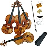 Aliyes Solid Wood Violins Full Size 4/4 Violin Kit For Beginners With Case,Shoulder Rest,Bow,Rosin,Extra Bridge And Strings(ALDH-004)