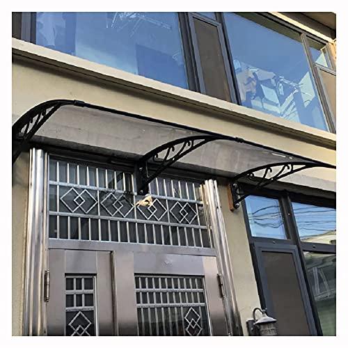 LIQICAI All'aperto Porta Finestra Tenda da Sole Baldacchino, Balcone policarbonato Pioggia Neve Coperchio, Alluminio Staffa Estensibile tettoie (Color : Chiaro, Size : 80X160CM)