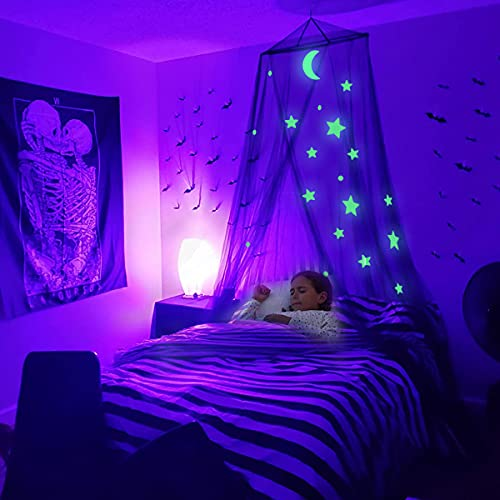 TOPC Bed Canopy Bedroom Decor for Girls Glow in The Dark Stars Girls Room Decor Mosquito Net Canopy Bed Curtains (Black)