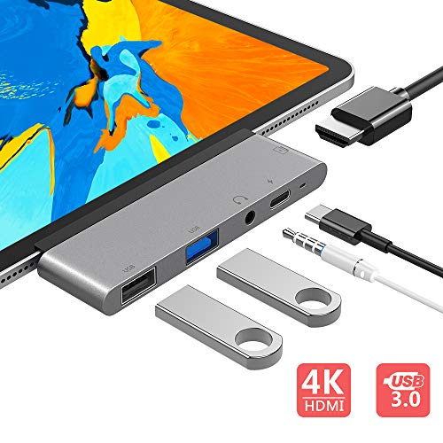 USB C Hub, 5 in 1 USB C to 4K HDMI Adapter with USB3.0, USB2.0, 3.5mm Headphone Jack, PD Charging, HDMI Converter Compatible with iPad Pro 11'/12.9' 2018 & MacBook Pro 2019