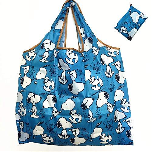 nobrand Niedliche Cartoon faltende Einkaufstasche umweltfreundliche Einkaufstasche wasserdichtes Nylon mit großer Kapazität Aufbewahrungstasche Einkaufstasche blau Snoopy