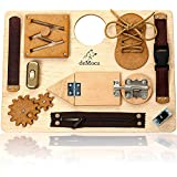Montessori Busy Board for Toddlers - Wooden Montessori Toys for Toddlers 3 Years - Travel Toy Preschool Educational Activities and Fine Motor Skills Activity Buckle Toy for 3 Years Old Boys and Girls