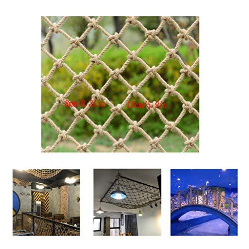 WWWANG Treppe Balkon Schutznetz Tropfen Net Child Safety Net Wanddekoration Net Cat Net handgewebte Hanfseil Net 8mm Seil 150x150mm Rasterabstand staubdicht, Sonnenschutz