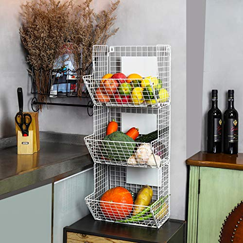 X-cosrack Metal Wire Basket Wall Mount, 3 Tier Wall Storage Basket Organizer with Hanging Hooks Chalkboards, Rustic Kitchen Fruit Produce Bin Rack Bathroom Tower Baskets (White)