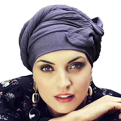 Christine Headwear Boho Spirit Wandlungsfähiger Turban in Kreppgewebe für die Moderne, unkonventionelle Frau - Sapphire (Lila)