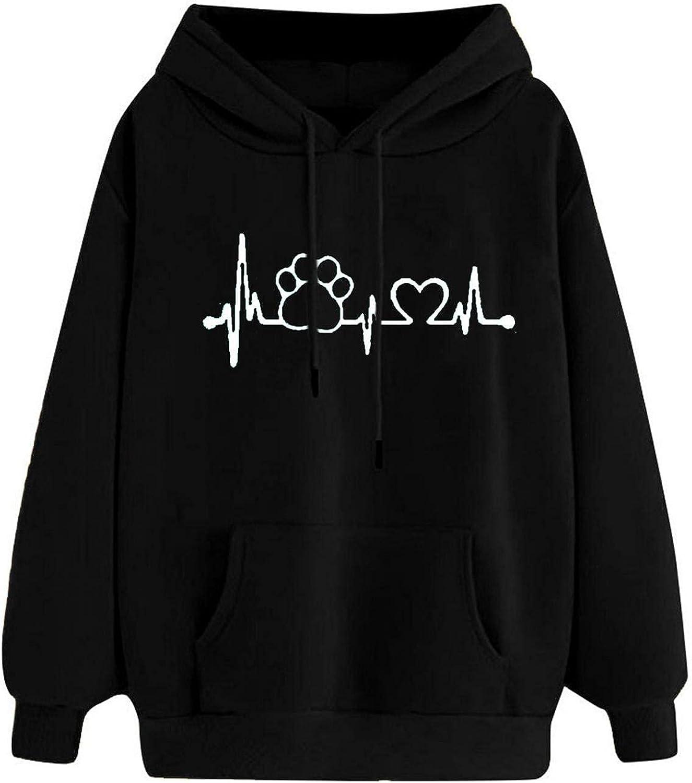Womens Hoodies, Women's Heartbeat Footprint Print Casual Pocket Pure Color Pullover Crewneck Hooded Sweatshirts M-3XL