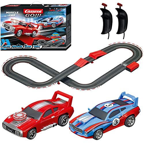 Carrera GO!!! 63500 Muscle Cars Battery Operated 1:43 Scale Slot Car Racing Toy Track Set with Jump Ramp Featuring 2 Muscle Style Race Cars for Kids Ages 5 Years and Up