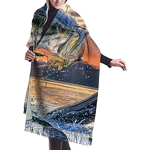 Bufanda de cachemira con estampado de pez grande para mujer Bufanda cálida informal Chal grande
