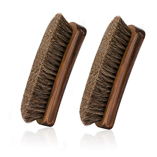 Horsehair Shoe Brush, IGIYI Brown Horse Hair Shoe Shine Brushes, Horse Bristle Cleaning & Polishing Kit for Leather, Boots, Bags and More (5.9' x1.6'x 1.67')