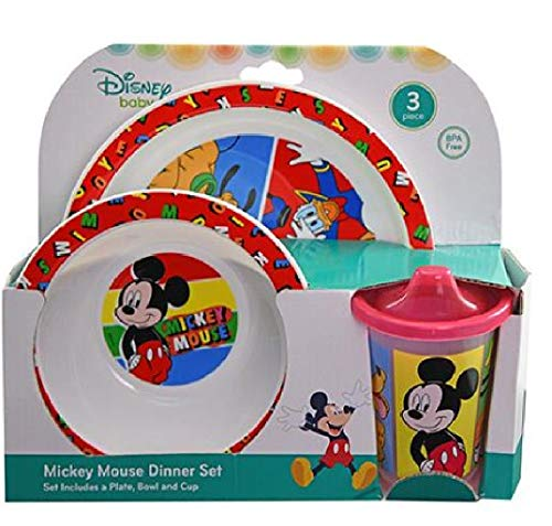 Mickey Mouse 3pc PP Dinner Set in Open Box (Plate, Bowl and Cup)