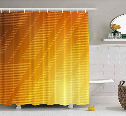 Duschvorhang, Babypartyvorhang Naitical Duschvorhang Hellorange Textur Coloured Lines Shining Sharp Stripes Wasserdichtes Dekor Badestoff Polyester Design Set mit Haken